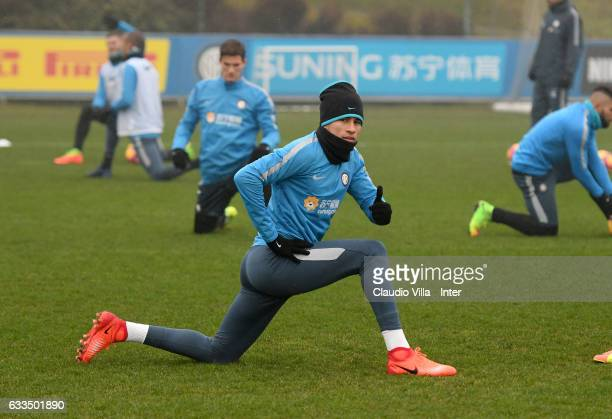 Jeison Murillo looks on during a FC Internazionale training session at Suning Training Center at Appiano Gentile on February 2 2017 in Como Italy
