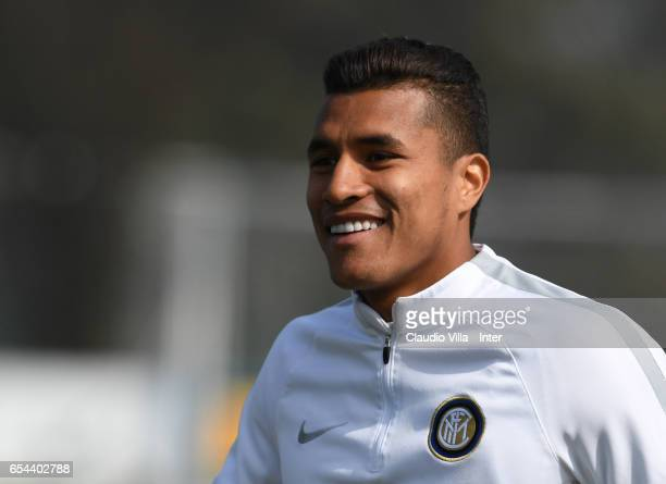 Jeison Murillo looks on during FC Internazionale training session at Suning Training Center at Appiano Gentile on March 17 2017 in Como Italy