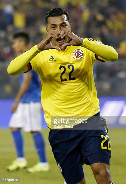 Jeison Murillo of Colombia celebrates after scoring the opening goal during the 2015 Copa America Chile Group C match between Brazil and Colombia at...