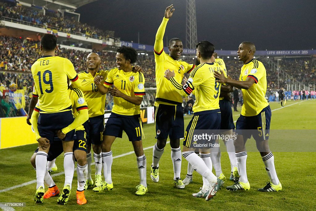 Jeison Murillo of Colombia celebrates with teammates after scoring the opening goal during the 2015 Copa America Chile Group C match between Brazil...
