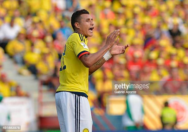 Jeison Murillo of Colombia encourages his teammates during a match between Colombia and Peru as part of FIFA 2018 World Cup Qualifier at...