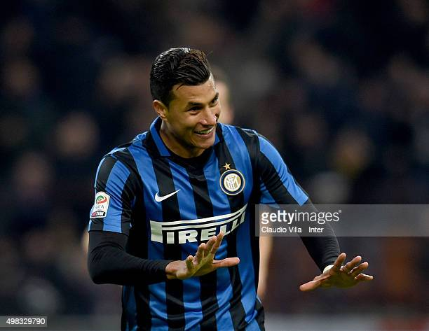 Jeison Murillo of FC Internazionale celebrates after scoring the third goal during the Serie A match between FC Internazionale Milano and Frosinone...