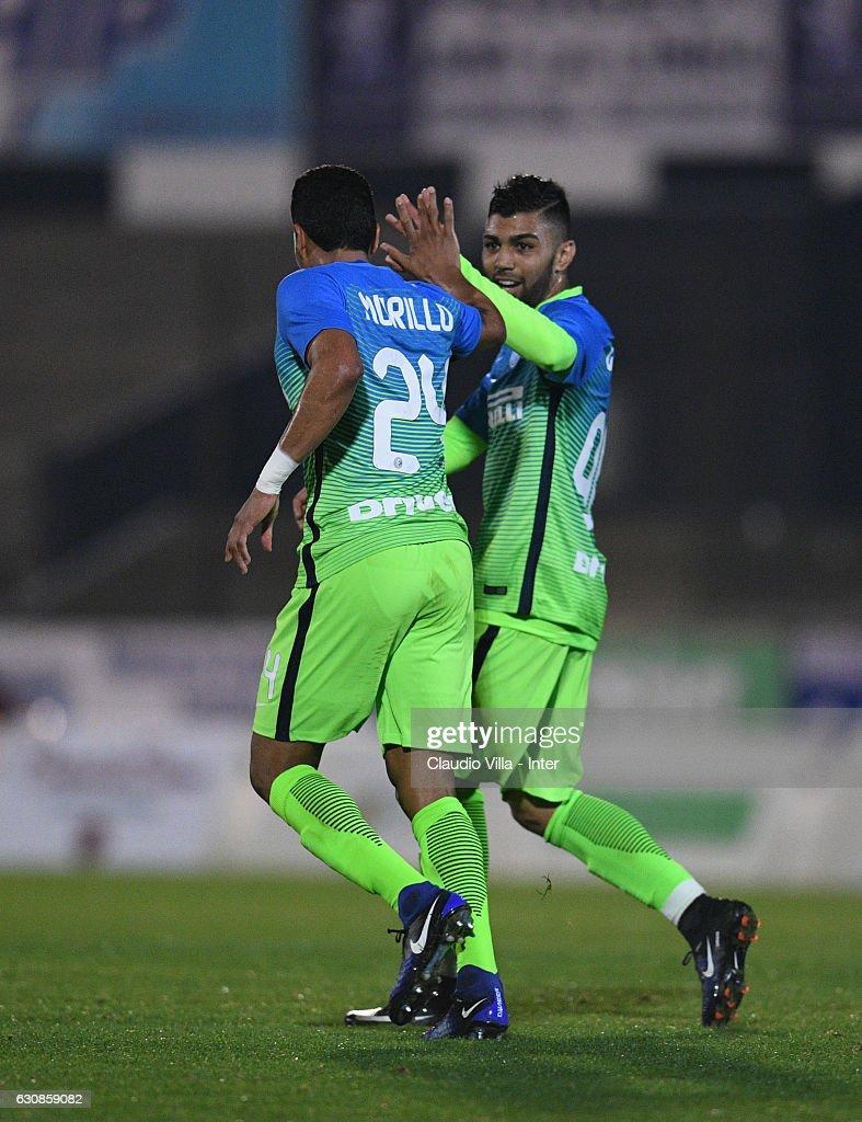 Jeison Murillo of FC Internazionale celebrates after scoring the second goal during the friendly match at Estadio Municipal de La Linea de la Conception on January 3, 2017 in Cadiz, Spain.
