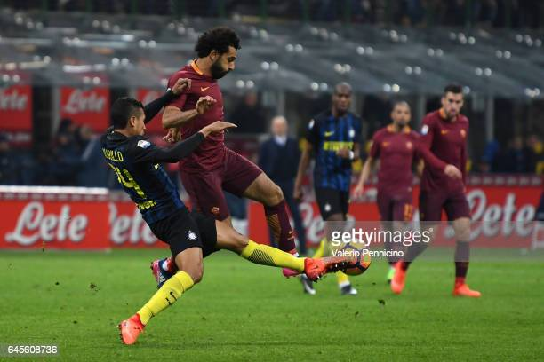 Jeison Murillo of FC Internazionale competes with Mohamed Salah of AS Roma during the Serie A match between FC Internazionale and AS Roma at Stadio...
