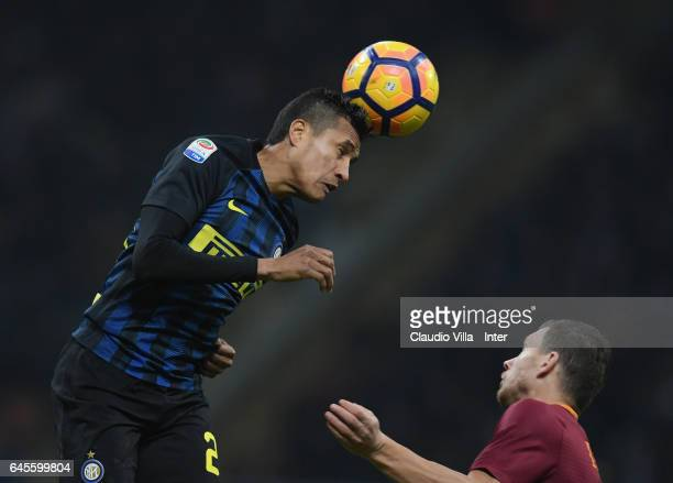 Jeison Murillo of FC Internazionale in action during the Serie A match between FC Internazionale and AS Roma at Stadio Giuseppe Meazza on February 26...