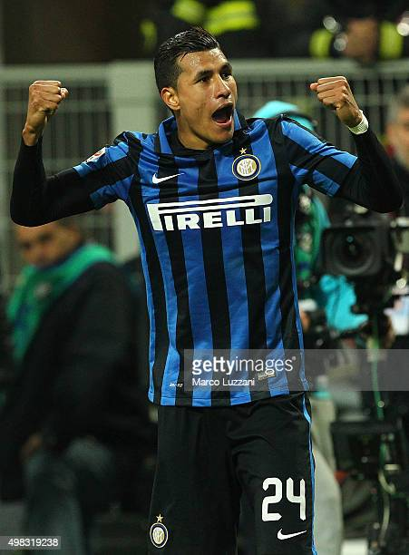 Jeison Murillo of FC Internazionale Milano celebrates his goal during the Serie A match between FC Internazionale Milano and Frosinone Calcio at...