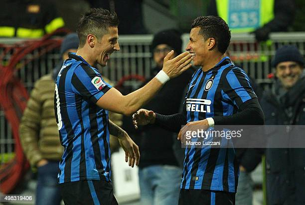 Jeison Murillo of FC Internazionale Milano celebrates his goal with his teammate Stevan Jovetic during the Serie A match between FC Internazionale...