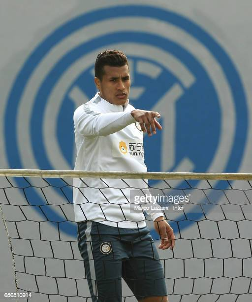 Jeison Murillo of FC Internazionale Milano gestures during the FC Internazionale training session at the club's training ground Suning Training...