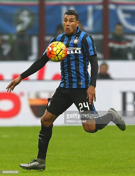 Jeison Murillo of FC Internazionale Milano in action during the Serie A match between FC Internazionale Milano and US Sassuolo Calcio at Stadio...