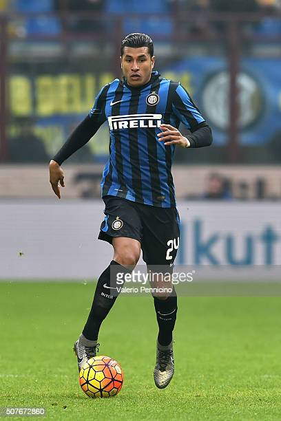 Jeison Murillo of FC Internazionale Milano in action during the Serie A match between FC Internazionale Milano and Carpi FC at Stadio Giuseppe Meazza...
