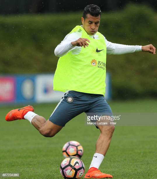 Jeison Murillo of FC Internazionale Milano kicks a ball during the FC Internazionale training session at the club's training ground Suning Training...