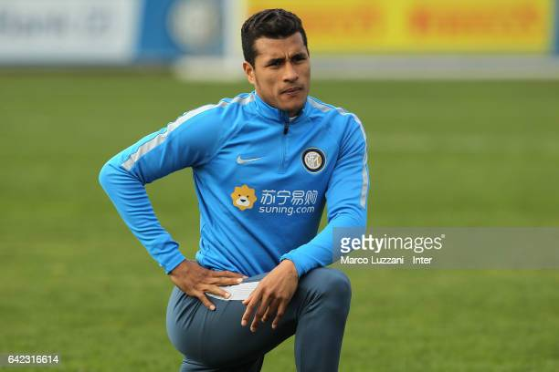 Jeison Murillo of FC Internazionale Milano looks on during the FC Internazionale training session at the club's training ground 'La Pinetina' on...