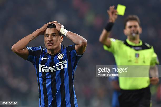 Jeison Murillo of FC Internazionale Milano receives the second yellow card from referee Paolo Tagliavento during the TIM Cup match between Juventus...