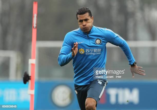 Jeison Murillo of FC Internazionale runs during the FC Internazionale training session at the club's training ground Suning Training Center in memory...