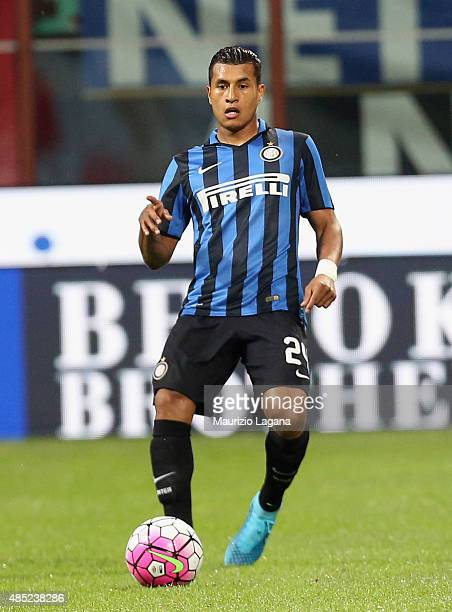 Jeison Murillo of Inter during the Serie A match between FC Internazionale Milano and Atalanta BC at Stadio Giuseppe Meazza on August 23 2015 in...