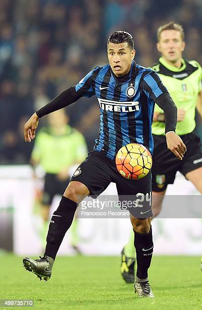 Jeison Murillo of Internazionale Milano in action during the Serie A match between SSC Napoli and FC Internazionale Milano at Stadio San Paolo on...