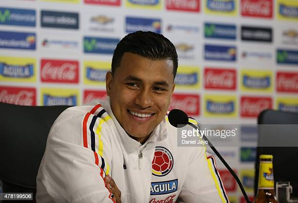 Jeison Murillo smiles during a press conference at San Carlos de Apoquindo on June 23 2015 in Santiago Chile Colombia will face Argentina as part of...