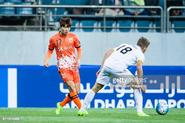Jeju United Forward Ahn Hyunbeom in action during the AFC Champions League 2017 Group Stage Group H match between Jeju United FC vs Adelaide United...