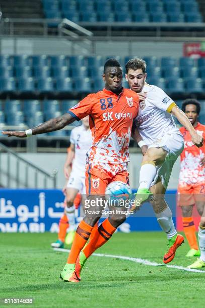 Jeju United Forward Frederic Mendy in action against Adelaide United Defender Benjamin Garuccio during the AFC Champions League 2017 Group Stage...