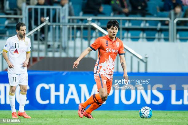 Jeju United Forward Jin Seonguk in action during the AFC Champions League 2017 Group Stage Group H match between Jeju United FC vs Adelaide United at...
