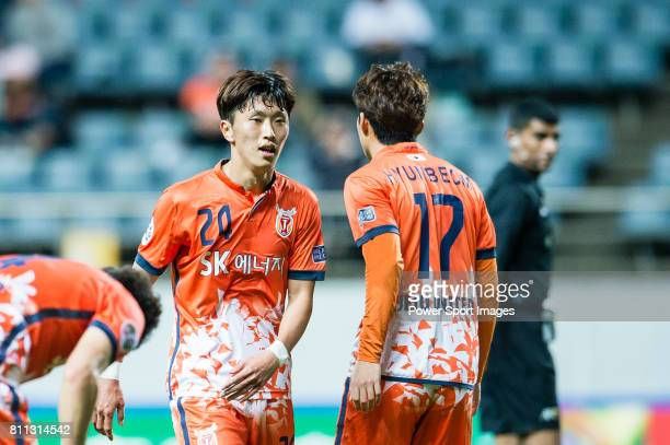 Jeju United Midfielder Moon Sangyun talks to Jeju United Forward Ahn Hyunbeom during the AFC Champions League 2017 Group Stage Group H match between...