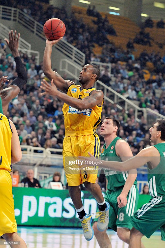 Jekel Foster, #25 of Alba Berlin in action during the 2012-2013 Turkish Airlines Euroleague Top 16 Date 11 between Panathinaikos Athens v Alba Berlin at OAKA on March 15, 2013 in Athens, Greece.