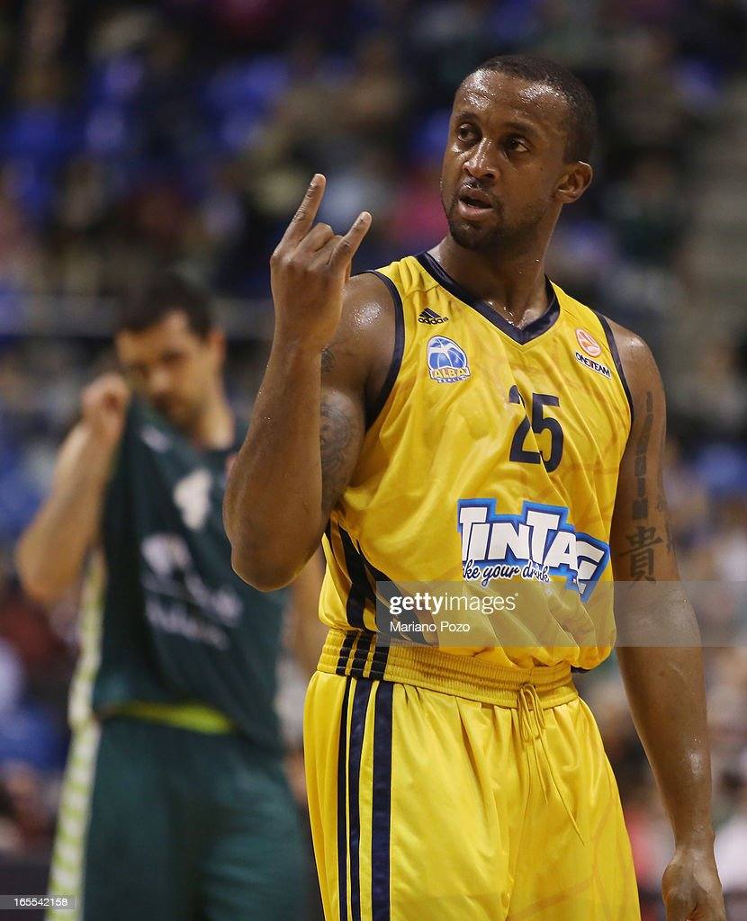 Jekel Foster, #25 of Alba Berlin in action during the 2012-2013 Turkish Airlines Euroleague Top 16 Date 14 between Unicaja Malaga v Alba Berlin at Palacio Deportes Martin Carpena on April 4, 2013 in Malaga, Spain.