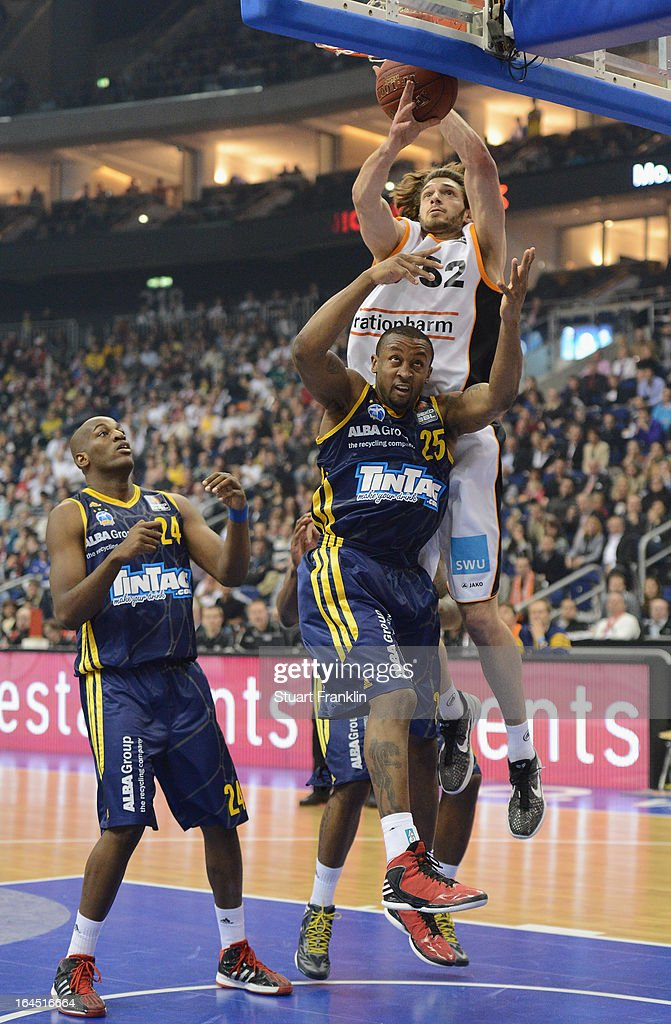 JeKel Foster of Berlin challenges Keaton Nankivil of Ulm during the Beko BBLTop Four final game between Ratiopharm Ulm and Alba Berlin at O2 World on March 24, 2013 in Berlin, Germany.