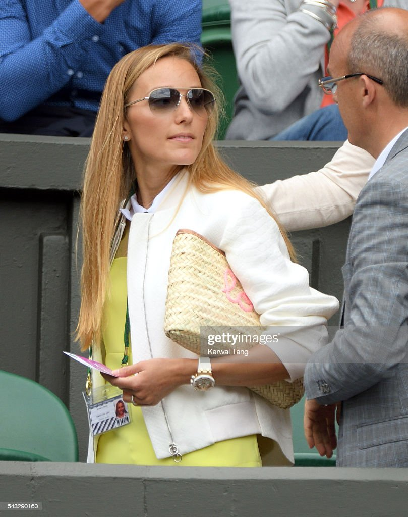Jelena Djokovic attends day one of the Wimbledon Tennis Championships at Wimbledon on June 27, 2016 in London, England.