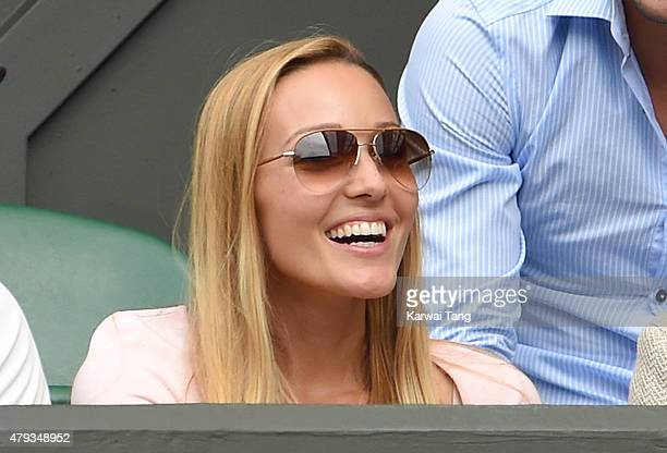 Jelena Djokovic attends the Novak Djokovic v Bernard Tomic match on day five of the annual Wimbledon Tennis Championships at Wimbledon on July 3 2015...