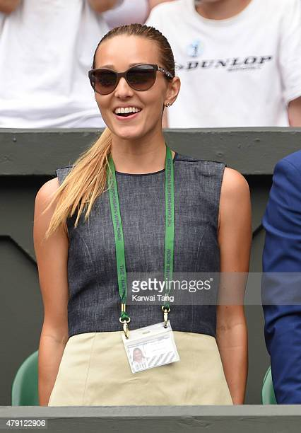 Jelena Djokovic attends the Novak Djokovic v Jarkko Nieminen match on day three of the Wimbledon Tennis Championships at Wimbledon on July 1 2015 in...