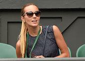Jelena Djokovic attends the Novak Djokovic v Jarkko Nieminen match on day three of the Wimbledon Tennis Championships at Wimbledon on July 1 2015 in...