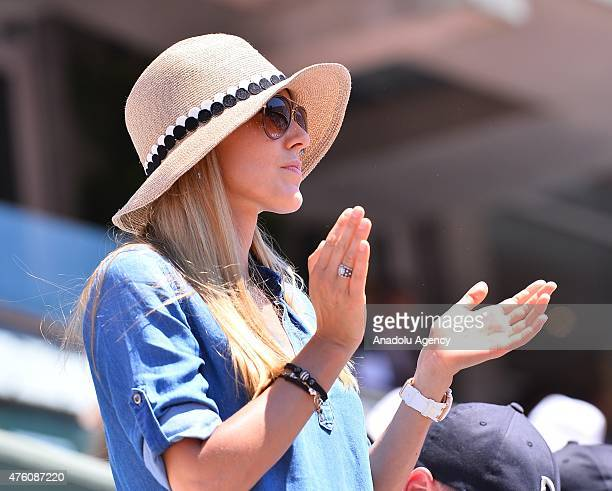 Jelena Djokovic watches his husband Novak Djokovic's match against Andy Murray of Britain during the semifinal of the French Open tennis tournament...
