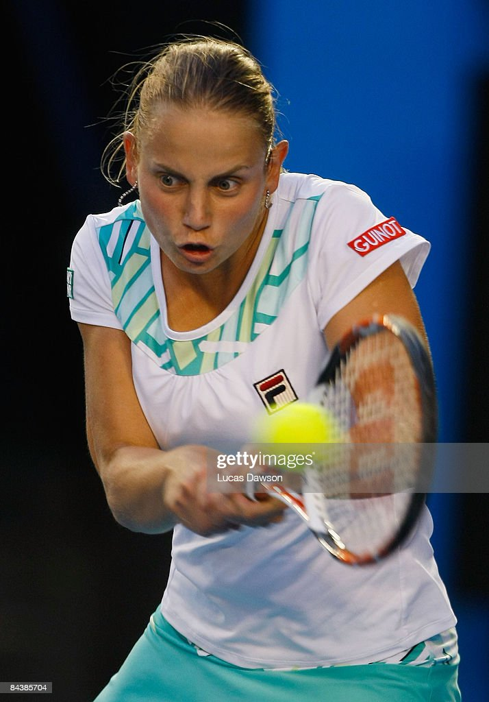 Jelena Dokic of Australia plays a backhand in her second round match against Anna Chakvetadze of Russia during day three of the 2009 Australian Open at Melbourne Park on January 21, 2009 in Melbourne, Australia.