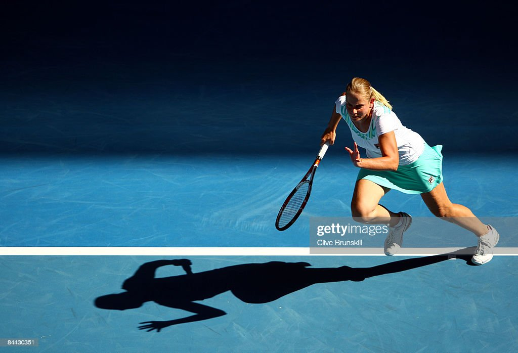 Jelena Dokic of Australia runs to the net in her first round match against Tamira Paszek of Austria during day one of the 2009 Australian Open at Melbourne Park on January 19, 2009 in Melbourne, Australia.