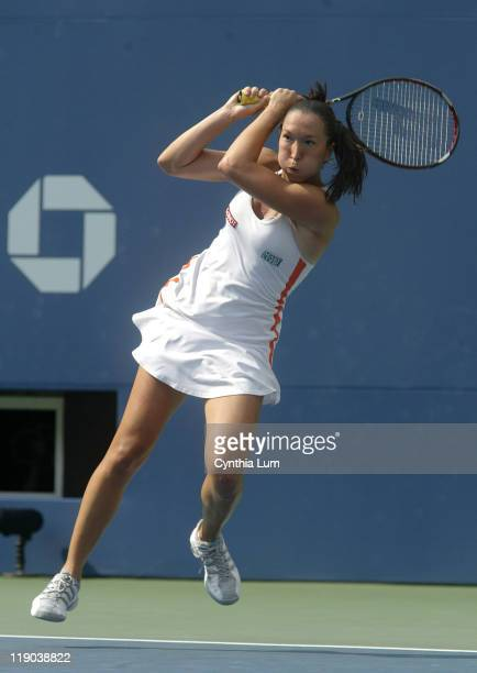 Jelena Jankovic during her semifinal match against Justine HeninHardenne at the 2006 US Open at the USTA Billie Jean King National Tennis Center in...