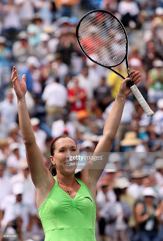 <a gi-track='captionPersonalityLinkClicked' href=/galleries/search?phrase=Jelena+Jankovic&family=editorial&specificpeople=217552 ng-click='$event.stopPropagation()'>Jelena Jankovic</a> of Serbia celebrates following her victory over Caroline Wozniacki of Denmark during the women's final of the BNP Paribas Open at the Indian Wells Tennis Garden on March 21, 2010 in Indian Wells, California.