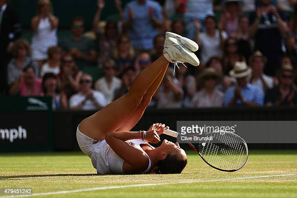 Jelena Jankovic of Serbia celebrates match point in her Ladies' Singles third Round match against Petra Kvitova of Czech Republic during day six of...