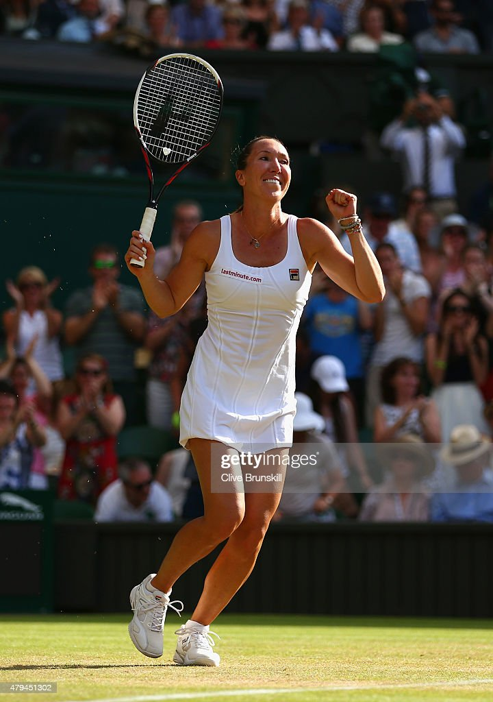 <a gi-track='captionPersonalityLinkClicked' href=/galleries/search?phrase=Jelena+Jankovic&family=editorial&specificpeople=217552 ng-click='$event.stopPropagation()'>Jelena Jankovic</a> of Serbia celebrates match point in her Ladies' Singles third Round match against Petra Kvitova of Czech Republic during day six of the Wimbledon Lawn Tennis Championships at the All England Lawn Tennis and Croquet Club on July 4, 2015 in London, England.