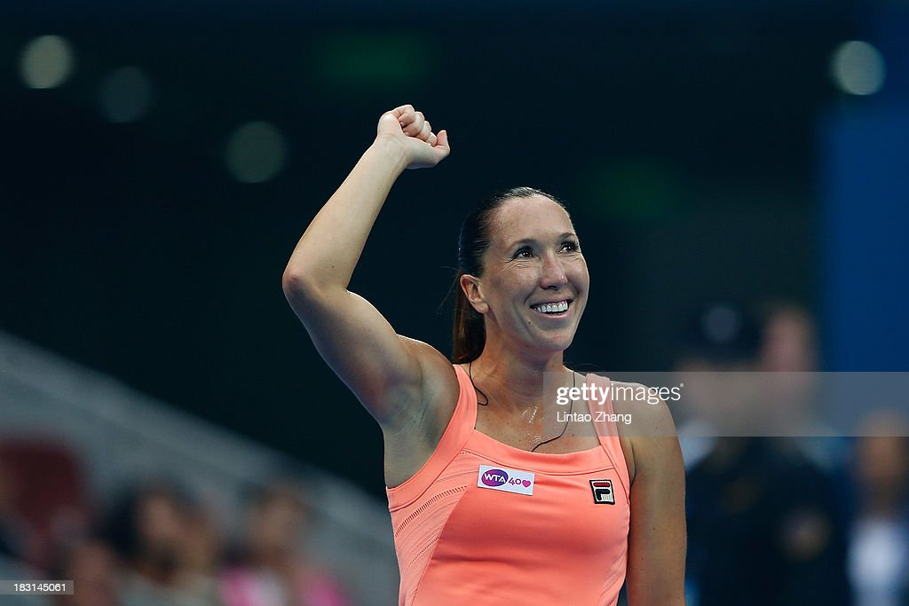 <a gi-track='captionPersonalityLinkClicked' href=/galleries/search?phrase=Jelena+Jankovic&family=editorial&specificpeople=217552 ng-click='$event.stopPropagation()'>Jelena Jankovic</a> of Serbia celebrates winning against Petra Kvitova of Czech Republic during her women's semi-final match on day eight of the 2013 China Open at the National Tennis Center on October 5, 2013 in Beijing, China.