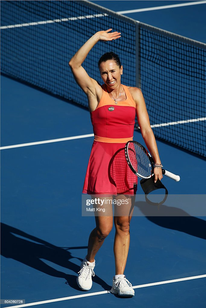 <a gi-track='captionPersonalityLinkClicked' href=/galleries/search?phrase=Jelena+Jankovic&family=editorial&specificpeople=217552 ng-click='$event.stopPropagation()'>Jelena Jankovic</a> of Serbia celebrates winning match point in her match against CoCo Andeweghe of the United States during day one of the 2016 Sydney International at Sydney Olympic Park Tennis Centre on January 10, 2016 in Sydney, Australia.