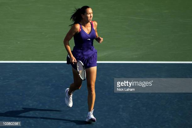 Jelena Jankovic of Serbia follows celebrates after she won match point against Mirjana Lucic of Croatia during the Women's singles on day four of the...