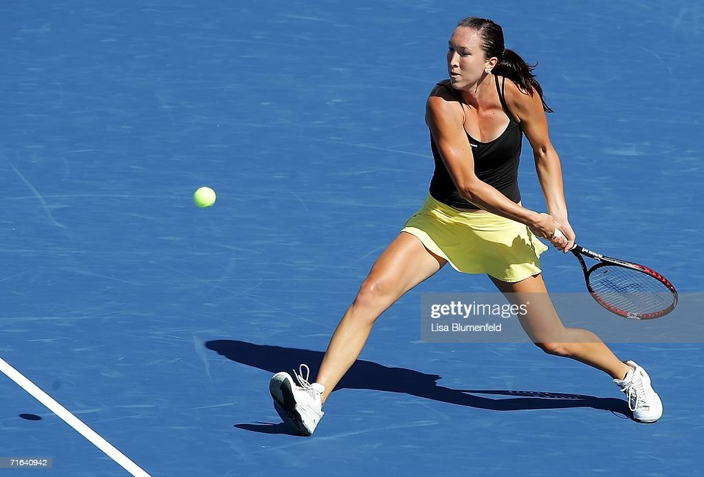 Jelena Jankovic of Serbia hits a backhand against Elena Dementieva of Russia in the finals of the JPMorgan Chase Open on August 13 2006 at Home Depot...