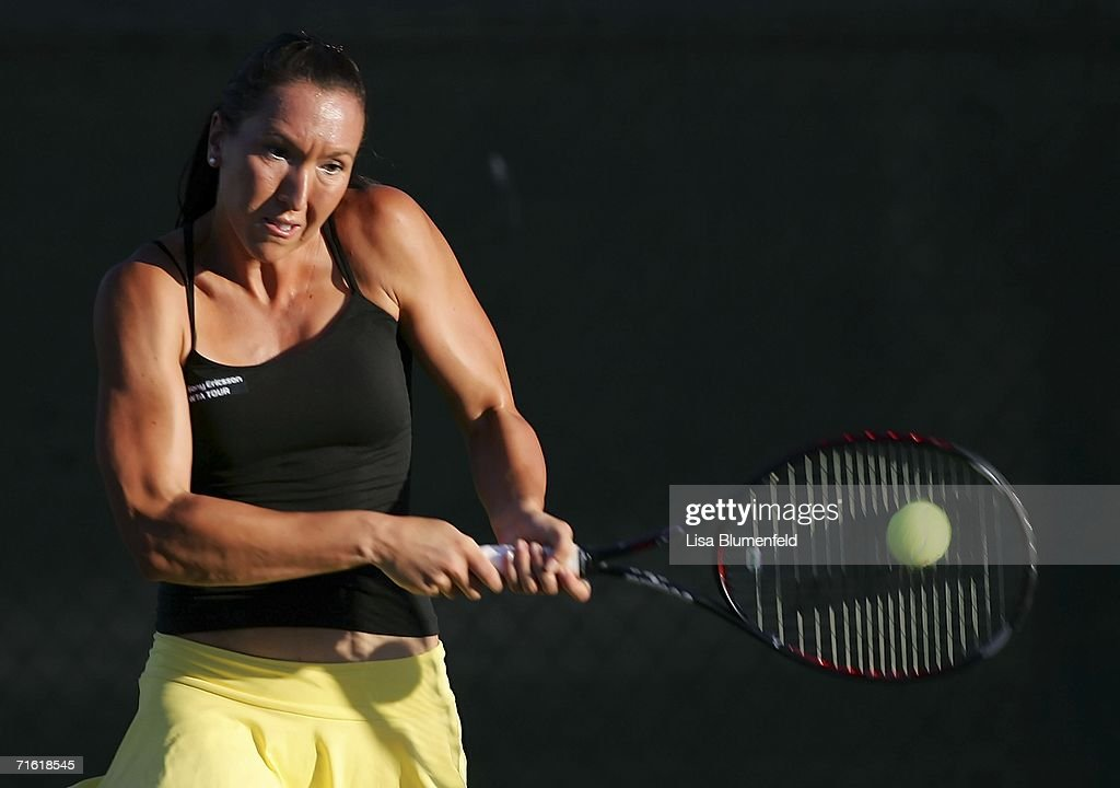 Jelena Jankovic of Serbia hits a backhand to Lucie Safarova of the Czech Republic on Day 3 of the JPMorgan Chase Open on August 9 2006 at Home Depot...