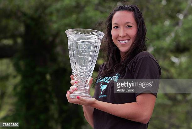 Jelena Jankovic of Serbia holds the winner's trophy after defeating Dinara Safina of Russia 6262 in the final of the Family Circle Cup at the Family...