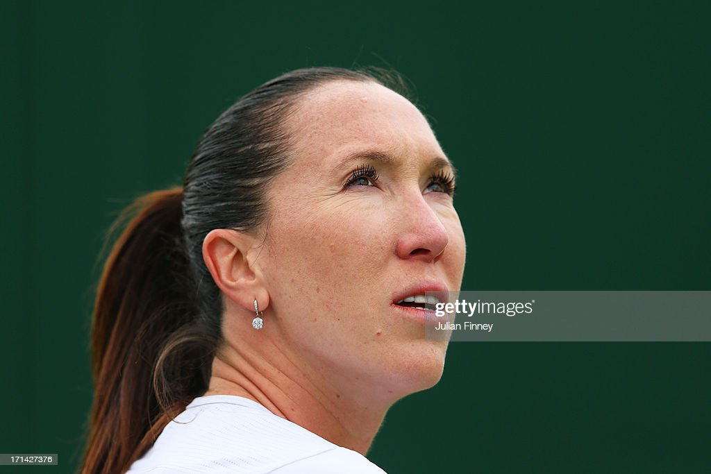 Jelena Jankovic of Serbia looks on during her Ladies' Singles first round match against Johanna Konta of Great Britain on day one of the Wimbledon Lawn Tennis Championships at the All England Lawn Tennis and Croquet Club on June 24, 2013 in London, England.