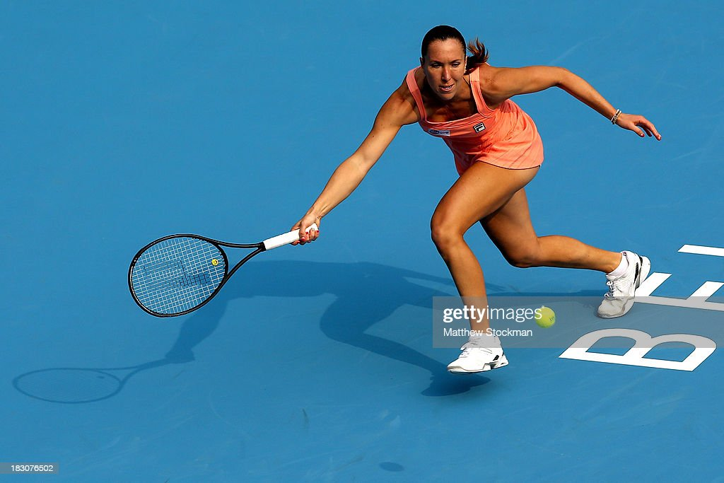 <a gi-track='captionPersonalityLinkClicked' href=/galleries/search?phrase=Jelena+Jankovic&family=editorial&specificpeople=217552 ng-click='$event.stopPropagation()'>Jelena Jankovic</a> of Serbia lunges for a shot while playing Lucie Safarova of Czech Republic during day seven of the 2013 China Open at the National Tennis Center on October 4, 2013 in Beijing, China.