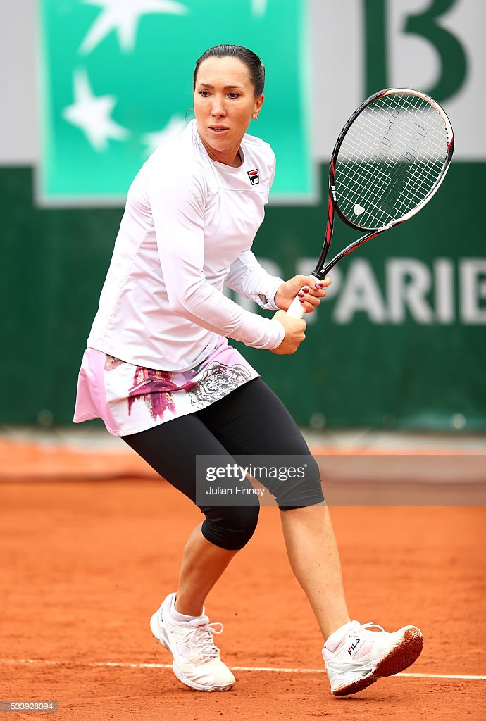 <a gi-track='captionPersonalityLinkClicked' href=/galleries/search?phrase=Jelena+Jankovic&family=editorial&specificpeople=217552 ng-click='$event.stopPropagation()'>Jelena Jankovic</a> of Serbia plays a backhand during the Women's Singles first round match against Tatjana Maria of Germany on day three of the 2016 French Open at Roland Garros on May 24, 2016 in Paris, France.