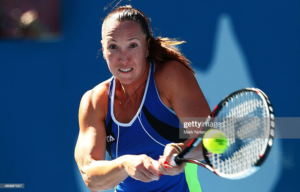 Jelena Jankovic of Serbia plays a backhand her match against Ekaterina Makarova of Russia during day two of the Sydney International at Sydney...