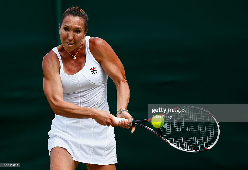 Jelena Jankovic of Serbia plays a backhand in her Ladies Singles Second Round match against Evgeniya Rodina of Russia during day four of the...